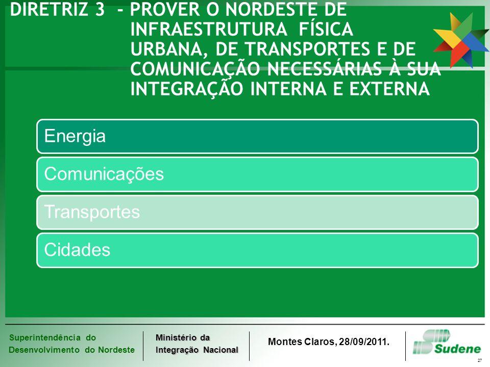 Superintendência do Desenvolvimento do Nordeste Ministério da Integração Nacional Montes Claros, 28/09/2011. 27 DIRETRIZ 3 - PROVER O NORDESTE DE INFR