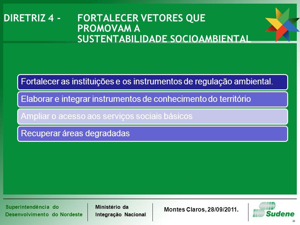 Superintendência do Desenvolvimento do Nordeste Ministério da Integração Nacional Montes Claros, 28/09/2011. 28 DIRETRIZ 4 - FORTALECER VETORES QUE PR