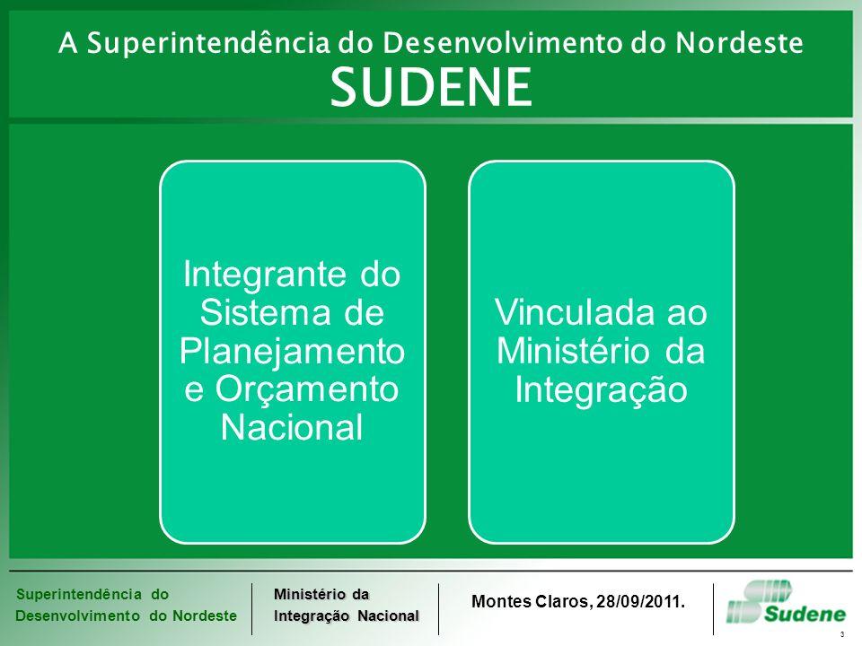 Superintendência do Desenvolvimento do Nordeste Ministério da Integração Nacional Montes Claros, 28/09/2011. 3 Integrante do Sistema de Planejamento e