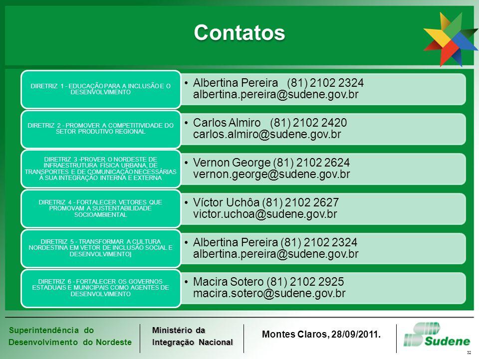 Superintendência do Desenvolvimento do Nordeste Ministério da Integração Nacional Montes Claros, 28/09/2011. 32 Contatos Albertina Pereira (81) 2102 2