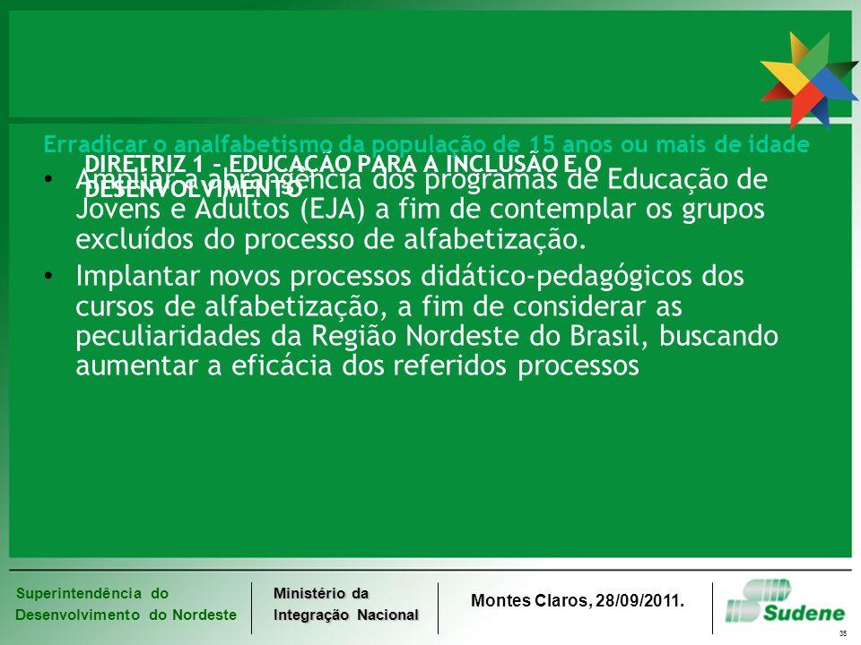 Superintendência do Desenvolvimento do Nordeste Ministério da Integração Nacional Montes Claros, 28/09/2011. 35 DIRETRIZ 1 - EDUCAÇÃO PARA A INCLUSÃO