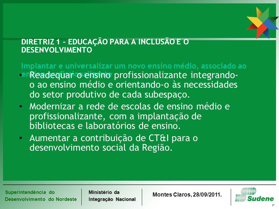 Superintendência do Desenvolvimento do Nordeste Ministério da Integração Nacional Montes Claros, 28/09/2011. 37 DIRETRIZ 1 - EDUCAÇÃO PARA A INCLUSÃO