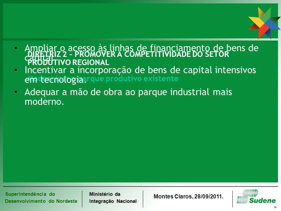 Superintendência do Desenvolvimento do Nordeste Ministério da Integração Nacional Montes Claros, 28/09/2011. 39 DIRETRIZ 2 - PROMOVER A COMPETITIVIDAD