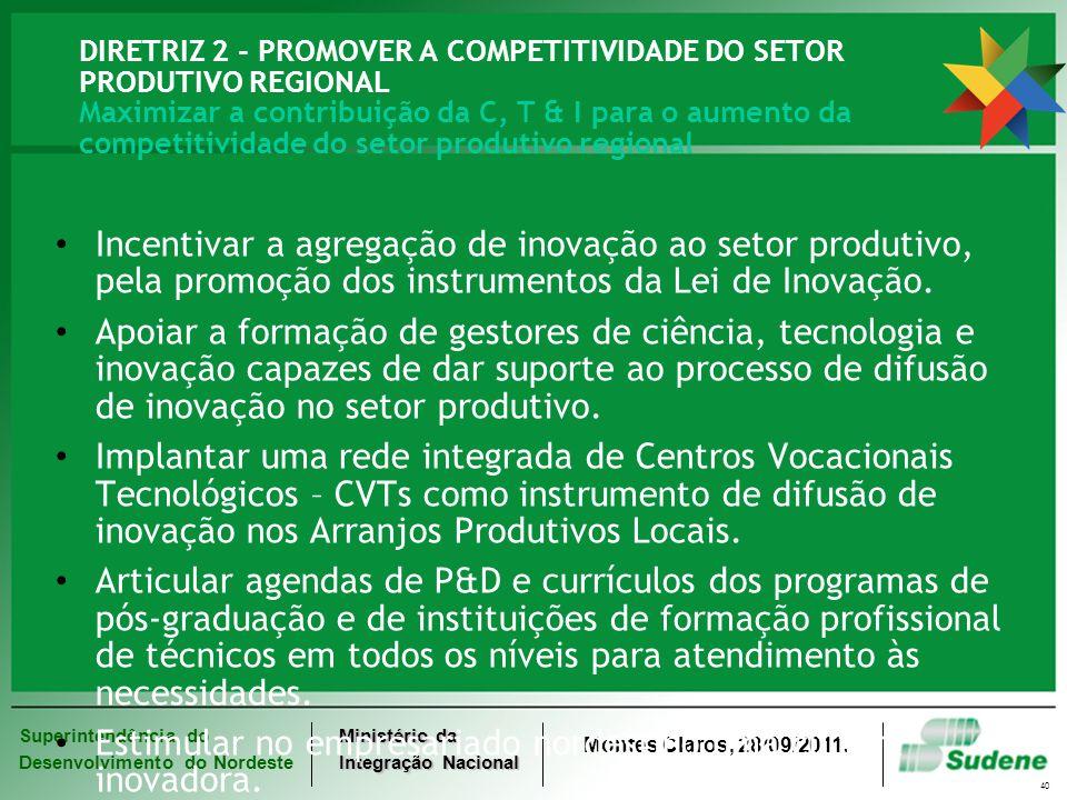Superintendência do Desenvolvimento do Nordeste Ministério da Integração Nacional Montes Claros, 28/09/2011. 40 DIRETRIZ 2 - PROMOVER A COMPETITIVIDAD