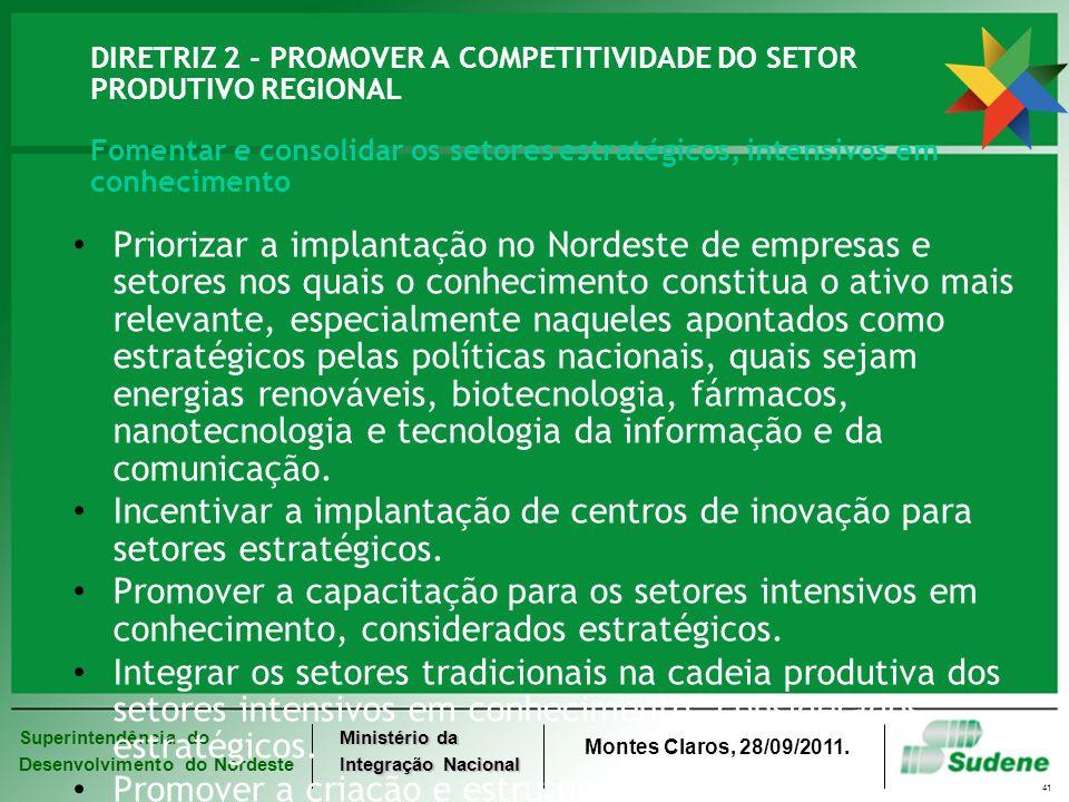 Superintendência do Desenvolvimento do Nordeste Ministério da Integração Nacional Montes Claros, 28/09/2011. 41 DIRETRIZ 2 - PROMOVER A COMPETITIVIDAD