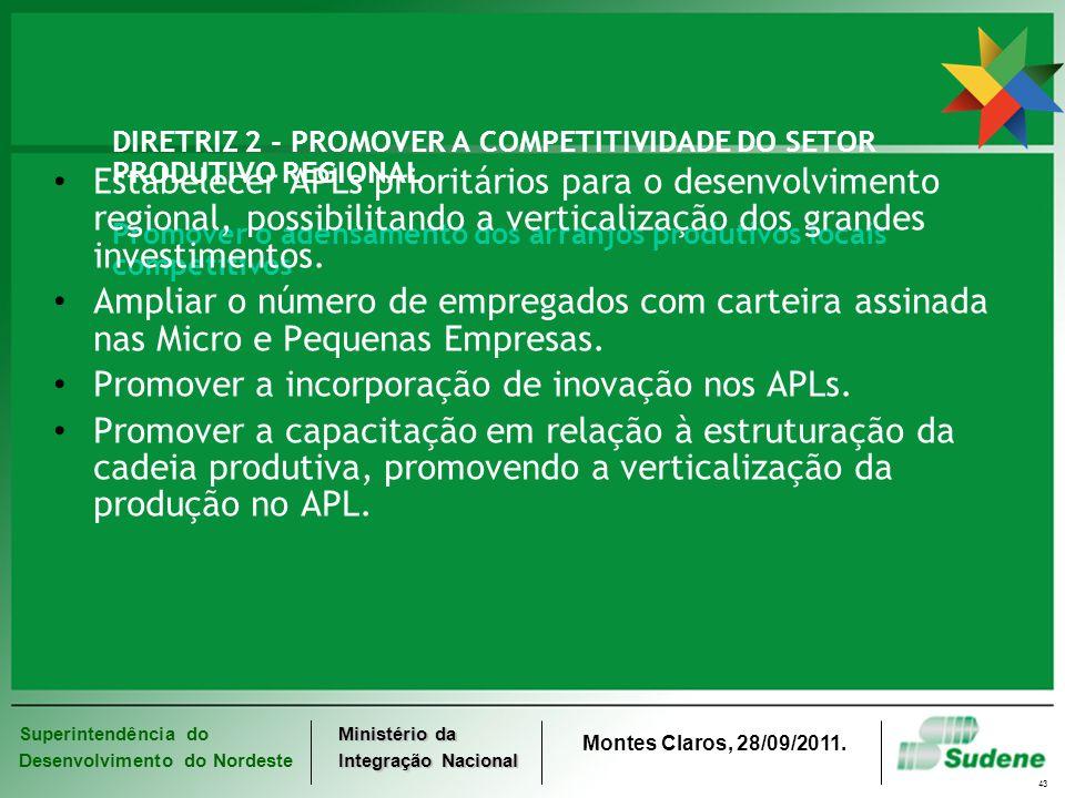 Superintendência do Desenvolvimento do Nordeste Ministério da Integração Nacional Montes Claros, 28/09/2011. 43 DIRETRIZ 2 - PROMOVER A COMPETITIVIDAD