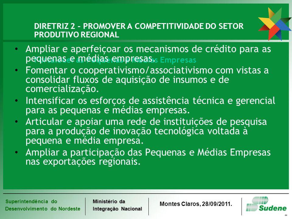 Superintendência do Desenvolvimento do Nordeste Ministério da Integração Nacional Montes Claros, 28/09/2011. 44 DIRETRIZ 2 - PROMOVER A COMPETITIVIDAD