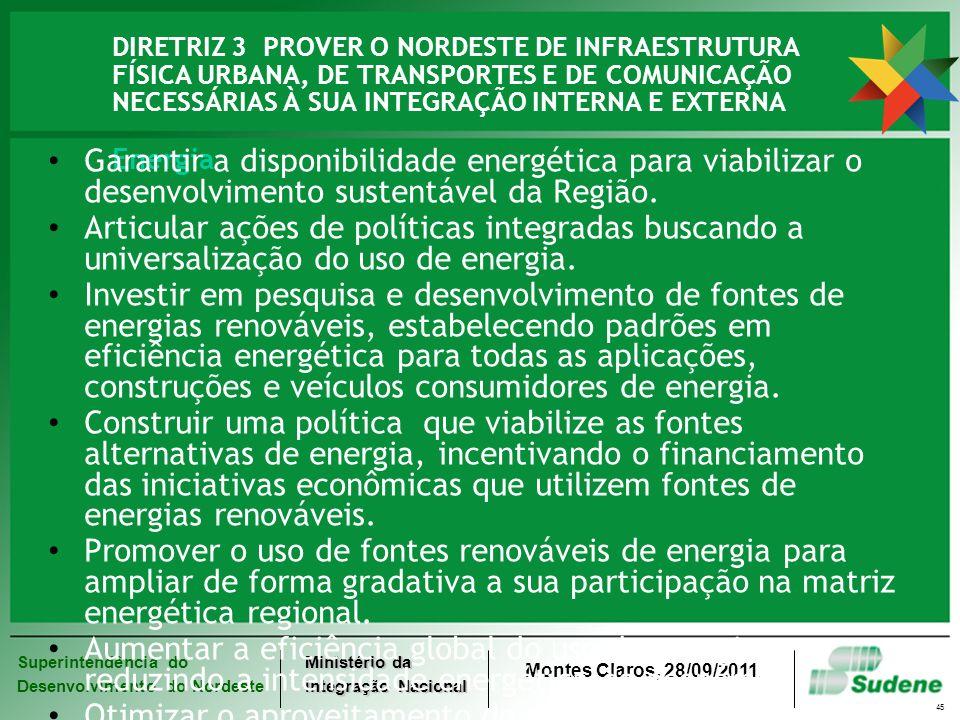 Superintendência do Desenvolvimento do Nordeste Ministério da Integração Nacional Montes Claros, 28/09/2011. 45 DIRETRIZ 3 PROVER O NORDESTE DE INFRAE
