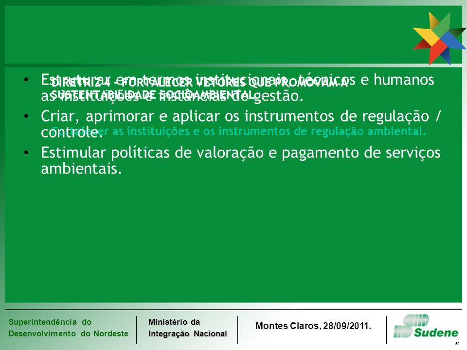 Superintendência do Desenvolvimento do Nordeste Ministério da Integração Nacional Montes Claros, 28/09/2011. 50 DIRETRIZ 4 - FORTALECER VETORES QUE PR