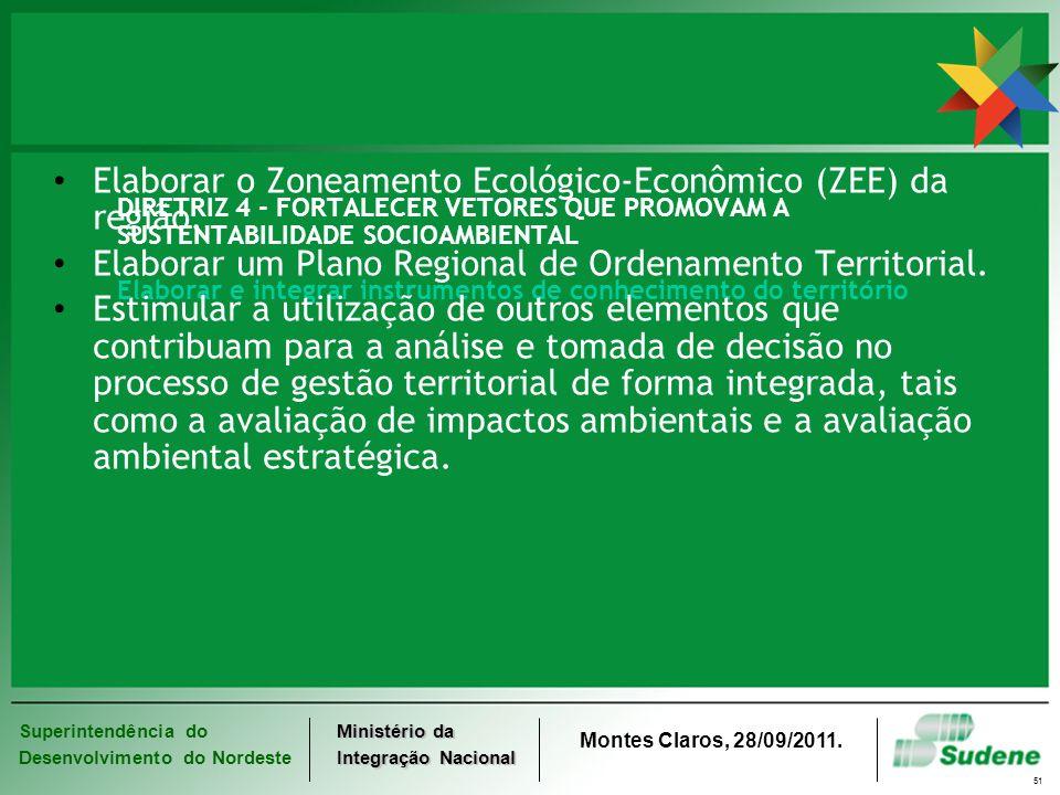 Superintendência do Desenvolvimento do Nordeste Ministério da Integração Nacional Montes Claros, 28/09/2011. 51 DIRETRIZ 4 - FORTALECER VETORES QUE PR