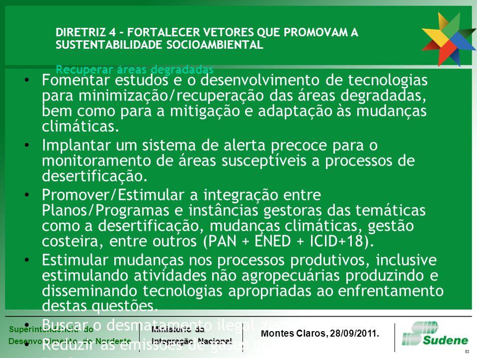 Superintendência do Desenvolvimento do Nordeste Ministério da Integração Nacional Montes Claros, 28/09/2011. 53 DIRETRIZ 4 - FORTALECER VETORES QUE PR