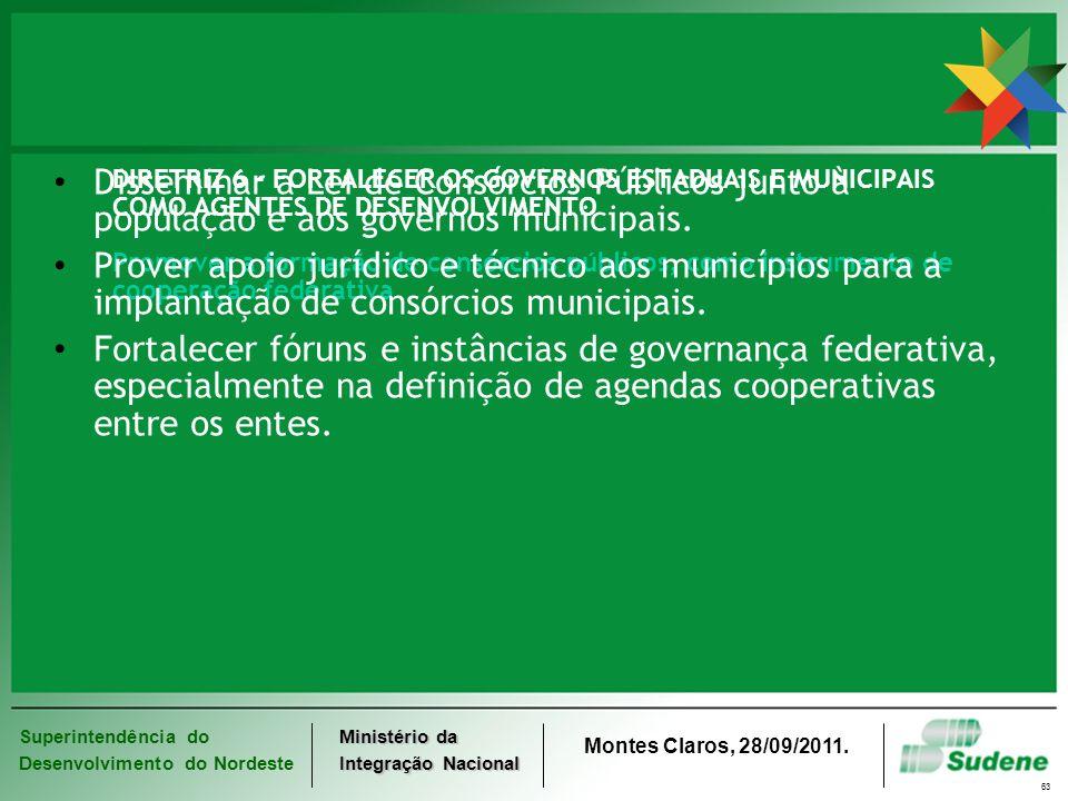 Superintendência do Desenvolvimento do Nordeste Ministério da Integração Nacional Montes Claros, 28/09/2011. 63 DIRETRIZ 6 - FORTALECER OS GOVERNOS ES