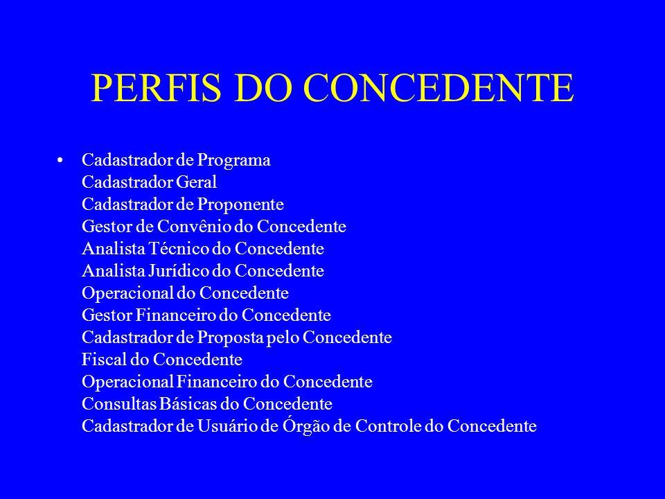 PERFIS DO CONCEDENTE Cadastrador de Programa Cadastrador Geral Cadastrador de Proponente Gestor de Convênio do Concedente Analista Técnico do Conceden