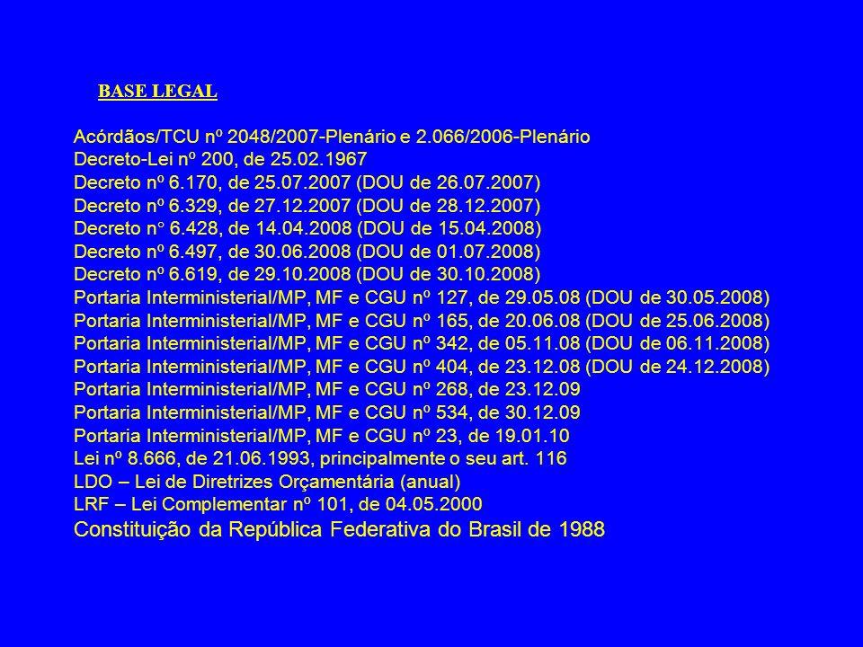 BASE LEGAL Acórdãos/TCU nº 2048/2007-Plenário e 2.066/2006-Plenário Decreto-Lei nº 200, de 25.02.1967 Decreto nº 6.170, de 25.07.2007 (DOU de 26.07.20