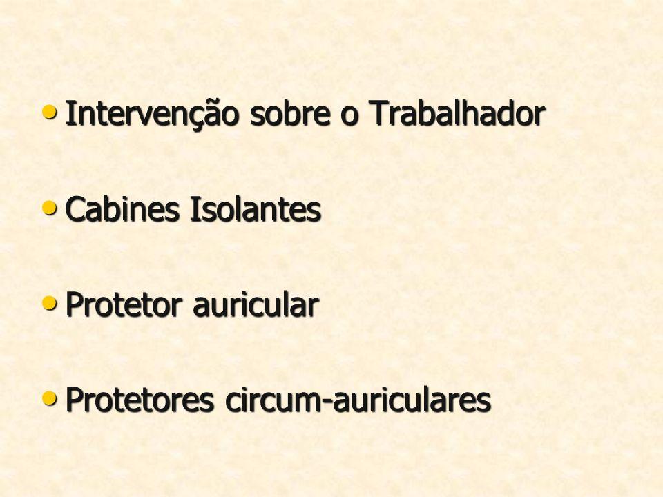 Intervenção sobre o Trabalhador Intervenção sobre o Trabalhador Cabines Isolantes Cabines Isolantes Protetor auricular Protetor auricular Protetores c