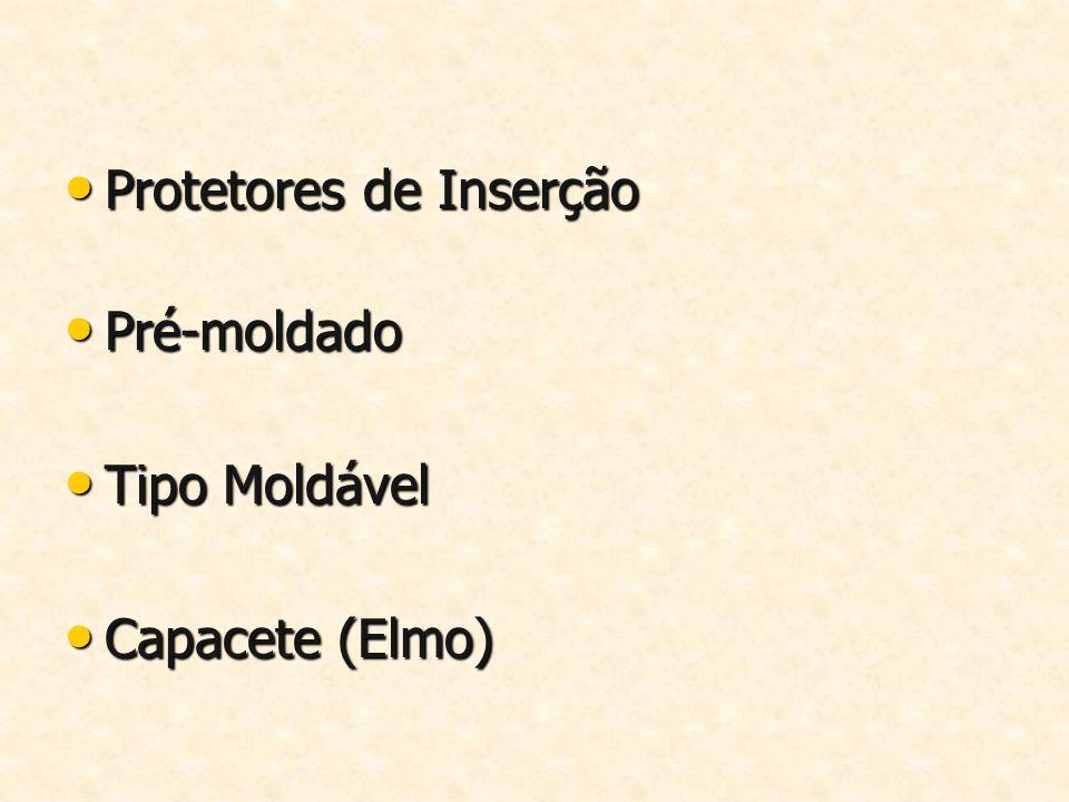 Protetores de Inserção Protetores de Inserção Pré-moldado Pré-moldado Tipo Moldável Tipo Moldável Capacete (Elmo) Capacete (Elmo)