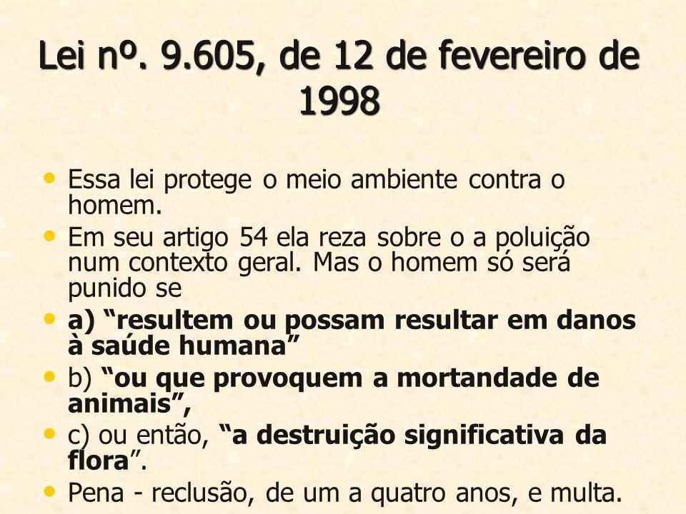 Lei nº. 9.605, de 12 de fevereiro de 1998 Essa lei protege o meio ambiente contra o homem. Em seu artigo 54 ela reza sobre o a poluição num contexto g
