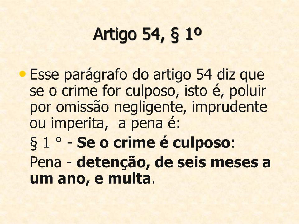 Artigo 54, § 1º Esse parágrafo do artigo 54 diz que se o crime for culposo, isto é, poluir por omissão negligente, imprudente ou imperita, a pena é: §