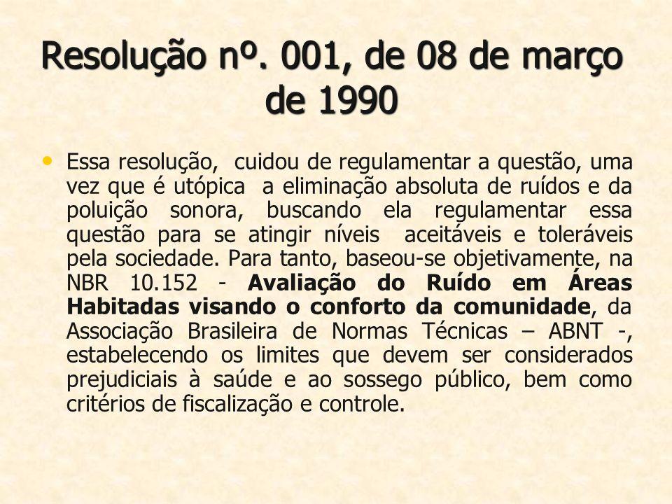 Resolução nº. 001, de 08 de março de 1990 Essa resolução, cuidou de regulamentar a questão, uma vez que é utópica a eliminação absoluta de ruídos e da