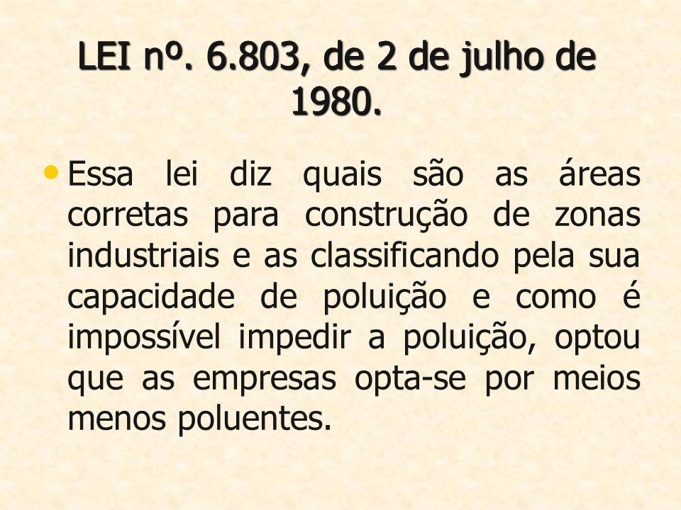 LEI nº. 6.803, de 2 de julho de 1980. Essa lei diz quais são as áreas corretas para construção de zonas industriais e as classificando pela sua capaci