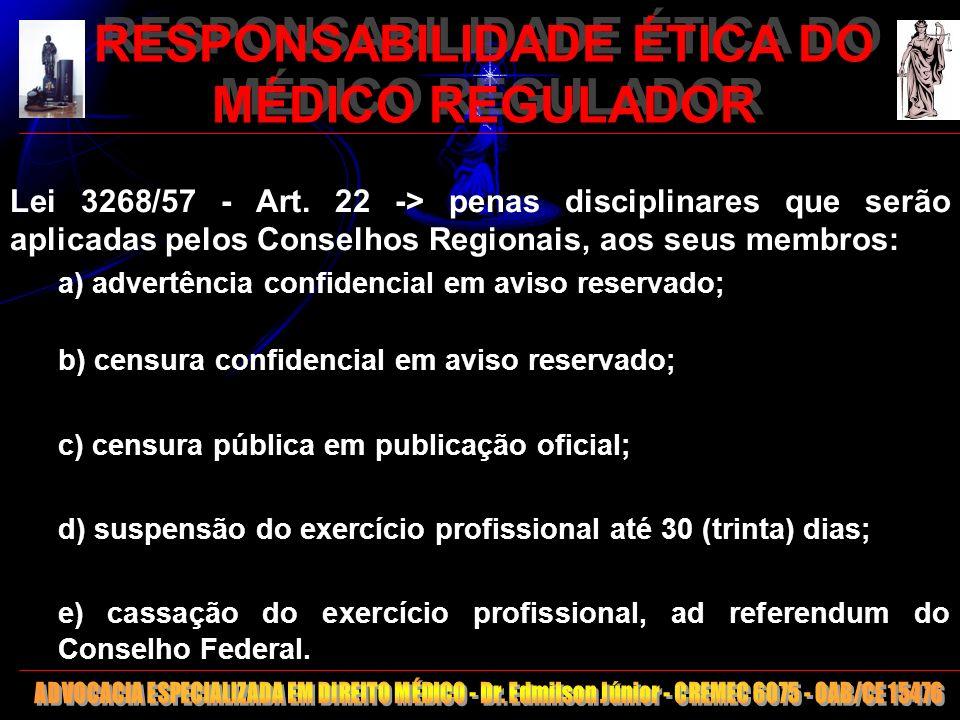 20 RESPONSABILIDADE ÉTICA DO MÉDICO REGULADOR Lei 3268/57 - Art. 22 -> penas disciplinares que serão aplicadas pelos Conselhos Regionais, aos seus mem