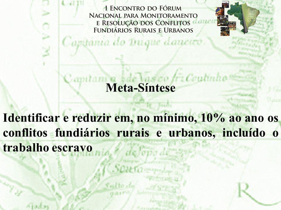 Meta-Síntese Identificar e reduzir em, no mínimo, 10% ao ano os conflitos fundiários rurais e urbanos, incluído o trabalho escravo