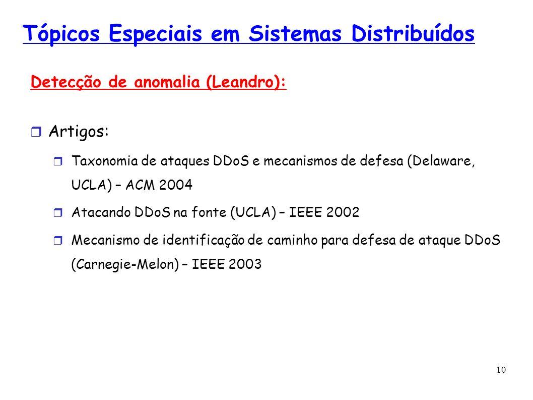 10 Tópicos Especiais em Sistemas Distribuídos Detecção de anomalia (Leandro): Artigos: Taxonomia de ataques DDoS e mecanismos de defesa (Delaware, UCL