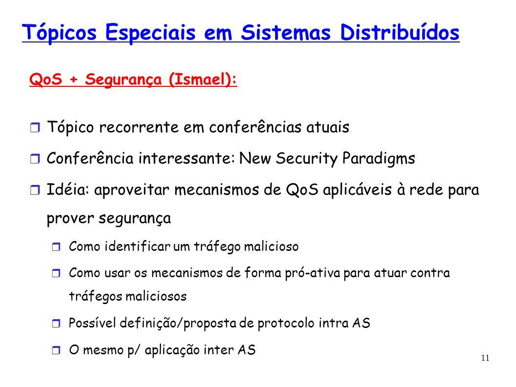 11 Tópicos Especiais em Sistemas Distribuídos QoS + Segurança (Ismael): Tópico recorrente em conferências atuais Conferência interessante: New Securit