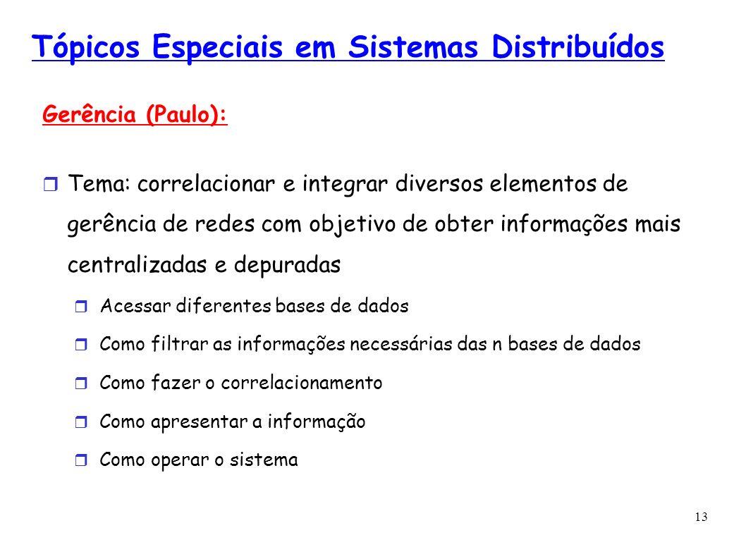 13 Tópicos Especiais em Sistemas Distribuídos Gerência (Paulo): Tema: correlacionar e integrar diversos elementos de gerência de redes com objetivo de