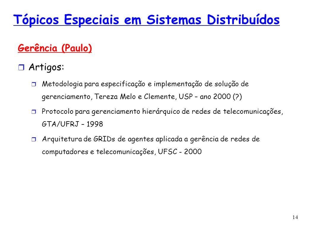 14 Tópicos Especiais em Sistemas Distribuídos Gerência (Paulo) Artigos: Metodologia para especificação e implementação de solução de gerenciamento, Te