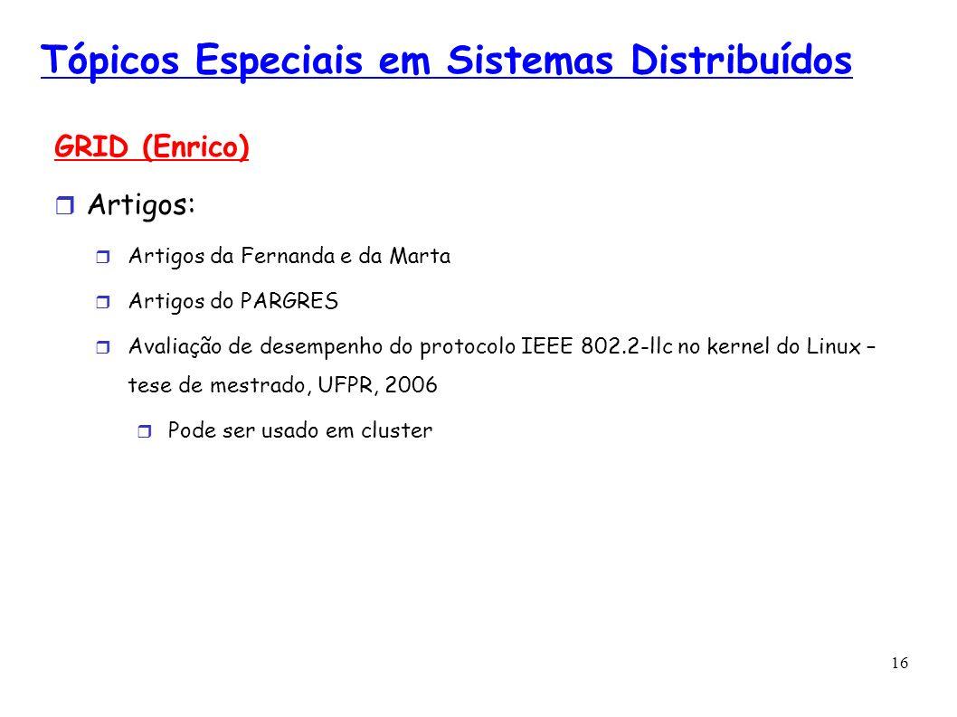 16 Tópicos Especiais em Sistemas Distribuídos GRID (Enrico) Artigos: Artigos da Fernanda e da Marta Artigos do PARGRES Avaliação de desempenho do prot