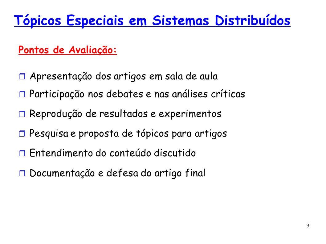 3 Tópicos Especiais em Sistemas Distribuídos Pontos de Avaliação: Apresentação dos artigos em sala de aula Participação nos debates e nas análises crí