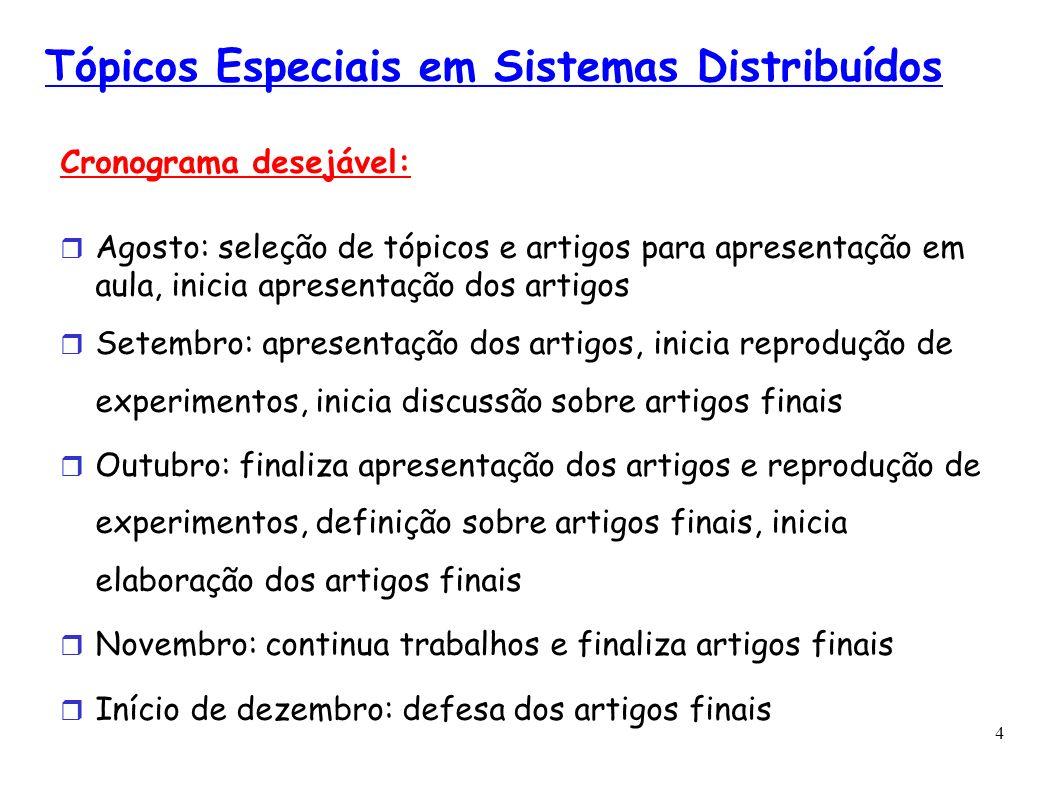 4 Tópicos Especiais em Sistemas Distribuídos Cronograma desejável: Agosto: seleção de tópicos e artigos para apresentação em aula, inicia apresentação