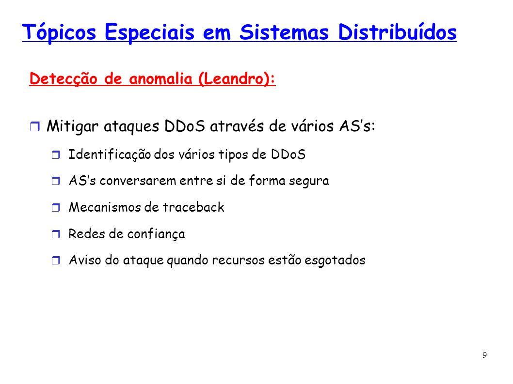 9 Tópicos Especiais em Sistemas Distribuídos Detecção de anomalia (Leandro): Mitigar ataques DDoS através de vários ASs: Identificação dos vários tipo