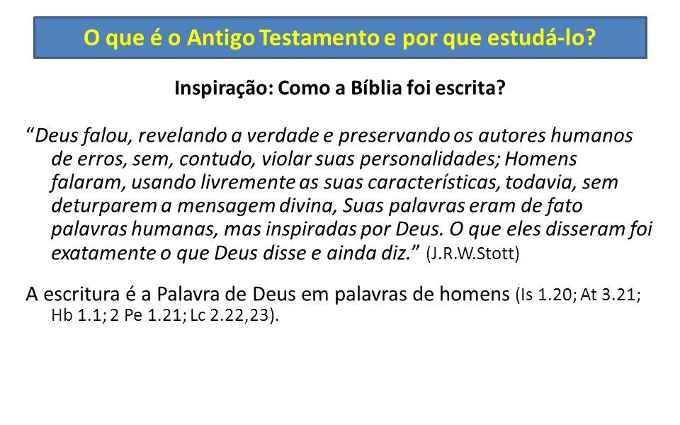 O que é o Antigo Testamento e por que estudá-lo? Inspiração: Como a Bíblia foi escrita? Deus falou, revelando a verdade e preservando os autores human