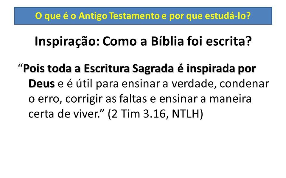 O que é o Antigo Testamento e por que estudá-lo? Inspiração: Como a Bíblia foi escrita? Pois toda a Escritura Sagrada é inspirada por DeusPois toda a