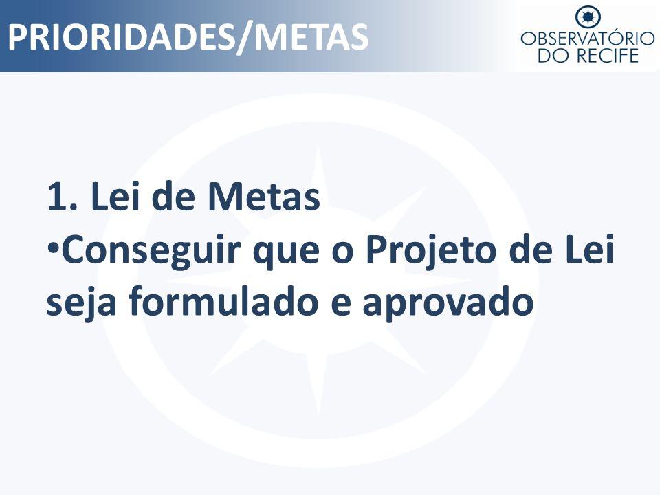 PRIORIDADES/METAS 1. Lei de Metas Conseguir que o Projeto de Lei seja formulado e aprovado