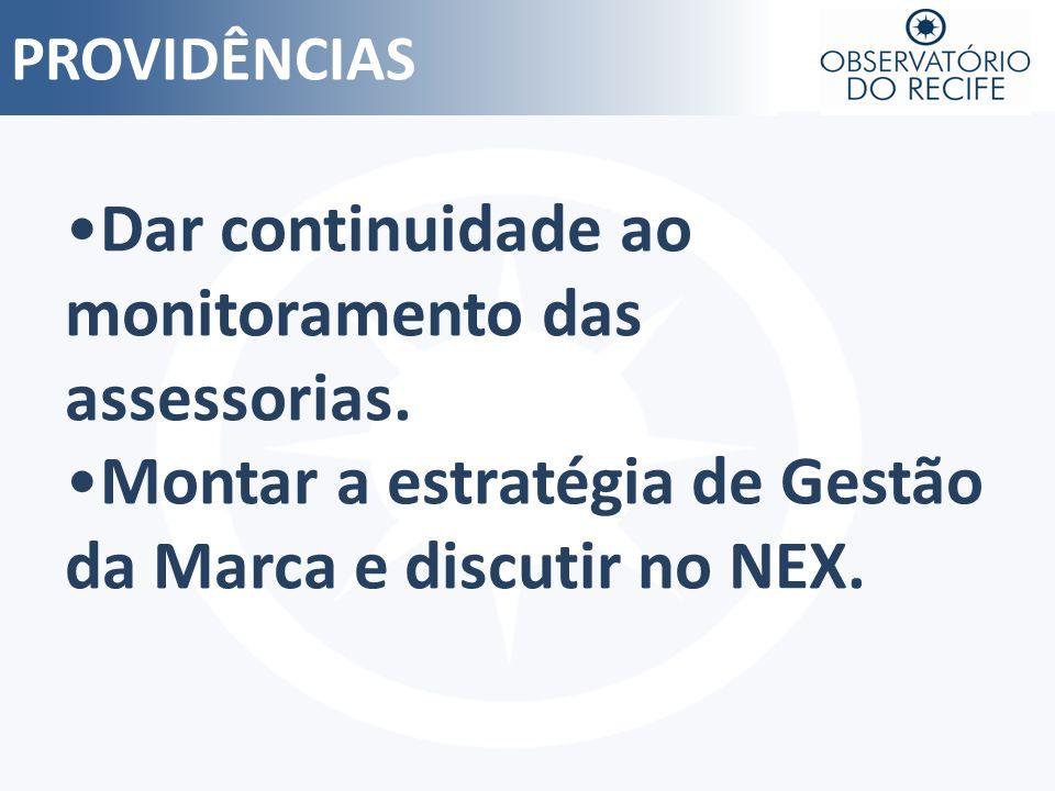 PROVIDÊNCIAS Dar continuidade ao monitoramento das assessorias. Montar a estratégia de Gestão da Marca e discutir no NEX.