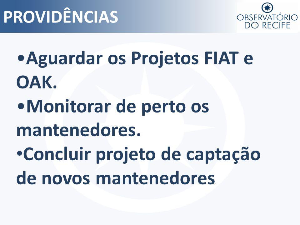 PROVIDÊNCIAS Aguardar os Projetos FIAT e OAK. Monitorar de perto os mantenedores. Concluir projeto de captação de novos mantenedores.