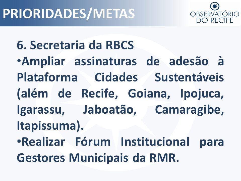 PRIORIDADES/METAS 6. Secretaria da RBCS Ampliar assinaturas de adesão à Plataforma Cidades Sustentáveis (além de Recife, Goiana, Ipojuca, Igarassu, Ja