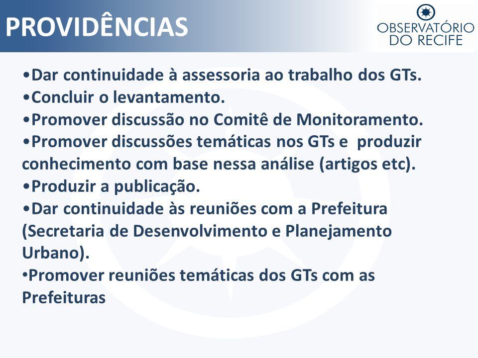 PROVIDÊNCIAS Dar continuidade à assessoria ao trabalho dos GTs. Concluir o levantamento. Promover discussão no Comitê de Monitoramento. Promover discu