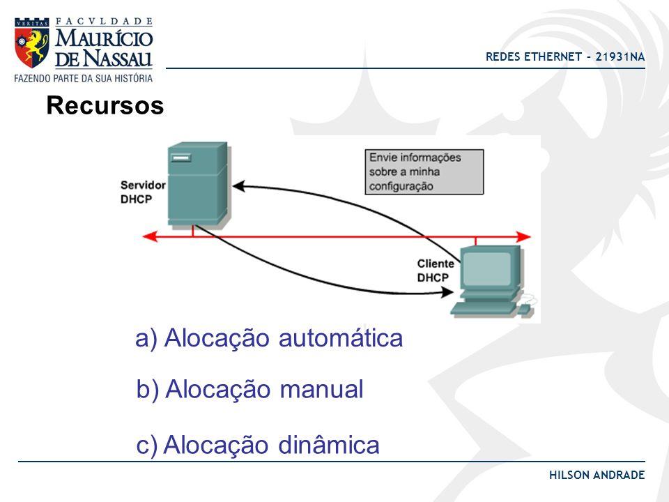 REDES ETHERNET – 21931NA HILSON ANDRADE Recursos a) Alocação automática b) Alocação manual c) Alocação dinâmica