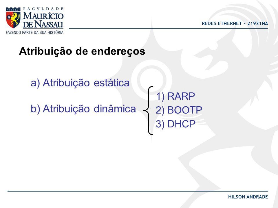 REDES ETHERNET – 21931NA HILSON ANDRADE Atribuição de endereços a) Atribuição estática b) Atribuição dinâmica 1) RARP 2) BOOTP 3) DHCP