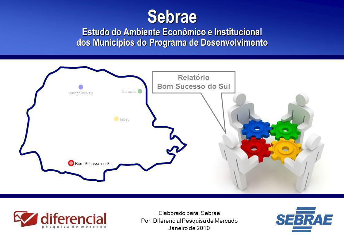 1 Elaborado para: Sebrae Por: Diferencial Pesquisa de Mercado Janeiro de 2010 Sebrae Estudo do Ambiente Econômico e Institucional dos Municípios do Pr