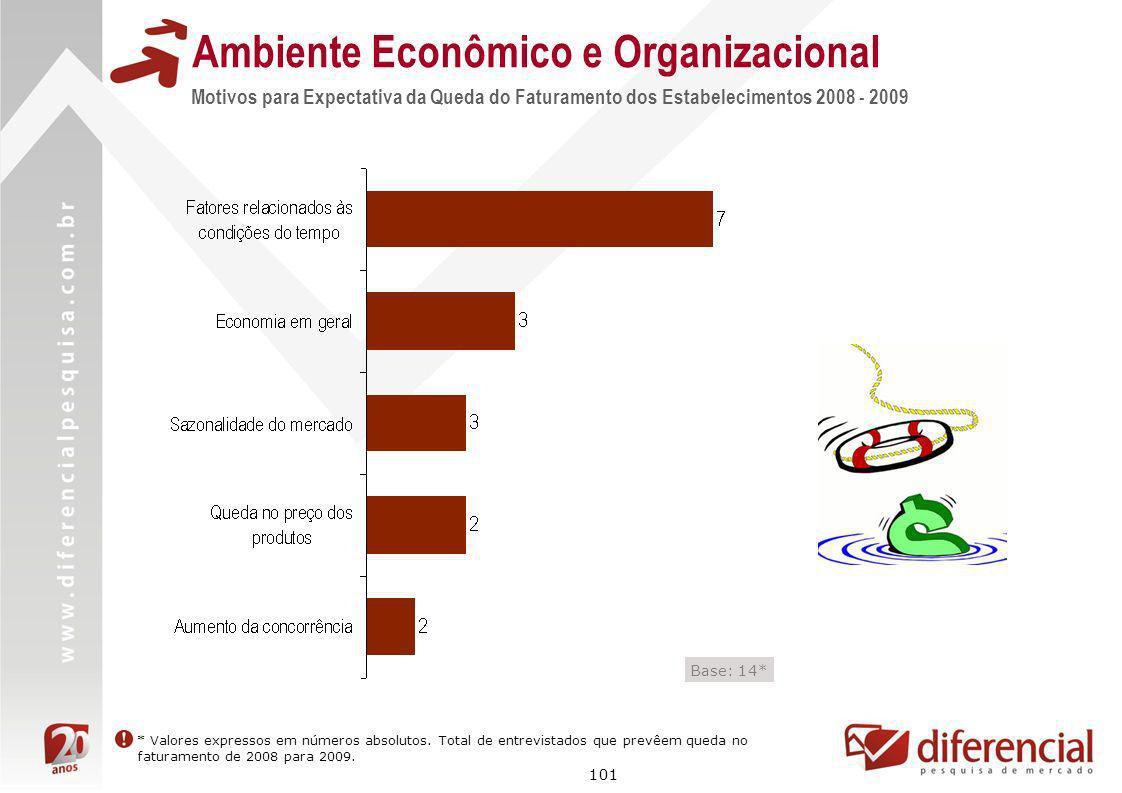 101 Ambiente Econômico e Organizacional Motivos para Expectativa da Queda do Faturamento dos Estabelecimentos 2008 - 2009 Base: 14* * Valores expresso