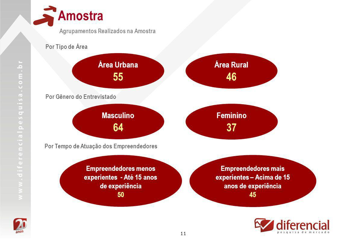 11 Amostra Agrupamentos Realizados na Amostra Por Tipo de Área Área Urbana 55 Área Rural 46 Empreendedores menos experientes - Até 15 anos de experiên
