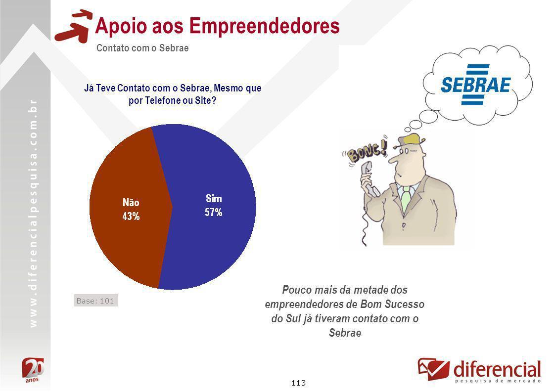 113 Contato com o Sebrae Apoio aos Empreendedores Já Teve Contato com o Sebrae, Mesmo que por Telefone ou Site? Base: 101 Pouco mais da metade dos emp