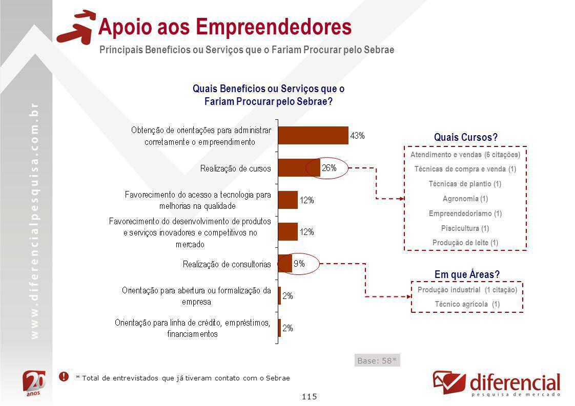 115 Apoio aos Empreendedores Principais Benefícios ou Serviços que o Fariam Procurar pelo Sebrae Base: 58* Quais Benefícios ou Serviços que o Fariam P
