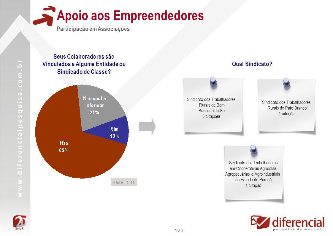 123 Apoio aos Empreendedores Seus Colaboradores são Vinculados a Alguma Entidade ou Sindicado de Classe? Participação em Associações Qual Sindicato? S