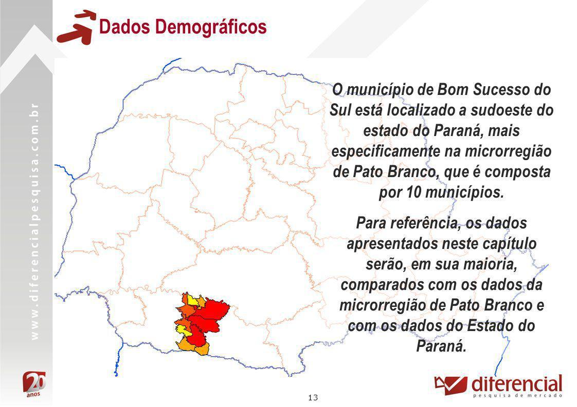 13 Dados Demográficos O município de Bom Sucesso do Sul está localizado a sudoeste do estado do Paraná, mais especificamente na microrregião de Pato B